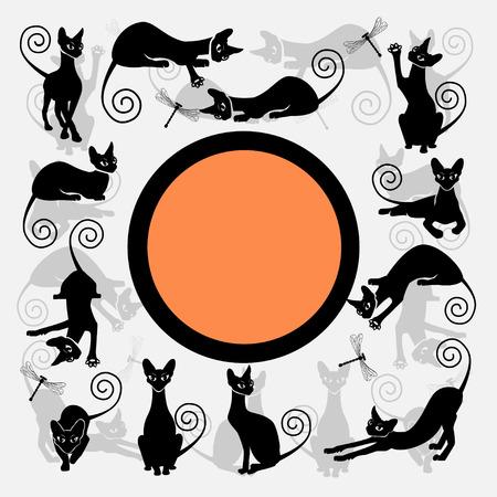 Color frames with black cats. Illusztráció