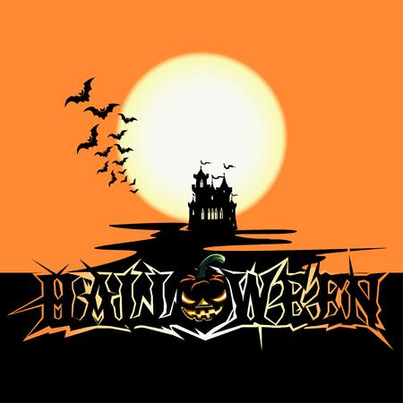 Halloween poster with castle Stock Illustratie