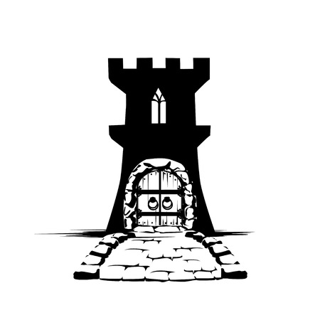 Silhouette of a fairy castle with towers and gates. Vector icon. Vintage.