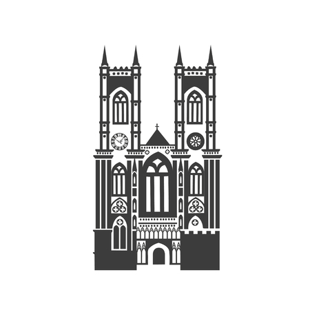 Vector icon Westminster Abbey. Silhouette on white background. Illustration