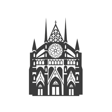 Vector icon Westminster Abbey. Silhouette on white background.  イラスト・ベクター素材