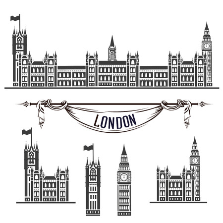 Vector icon of the Palace of Westminster. Set of silhouettes on white background.