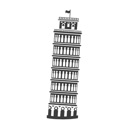 Vector icon of the Tower of Pisa. Illustration of an ancient building. Illustration