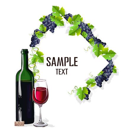 Modello di carta con un bicchiere di vino e uva Vettoriali