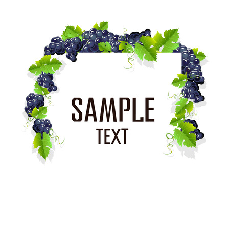 A realistic frame with black grapes. Invitation template or card. Vector illustration. Ilustração