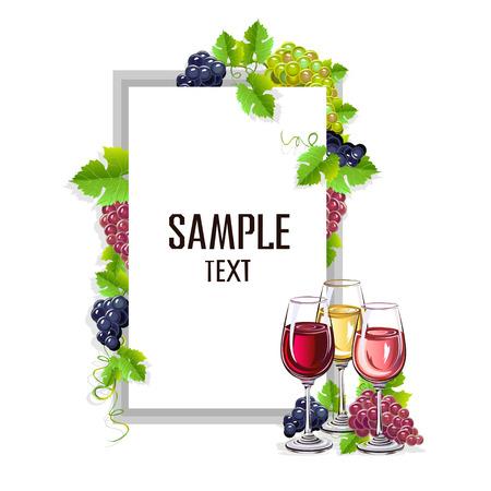 Modello di carta con bicchieri di vino Vettoriali