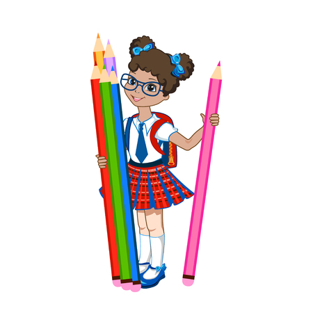 Cute schoolgirl with color books. Vector illustration on white background Vector Illustration