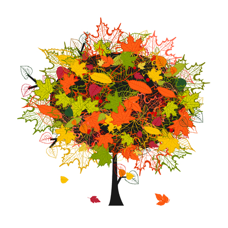 autumn tree with colorful leaves Ilustração