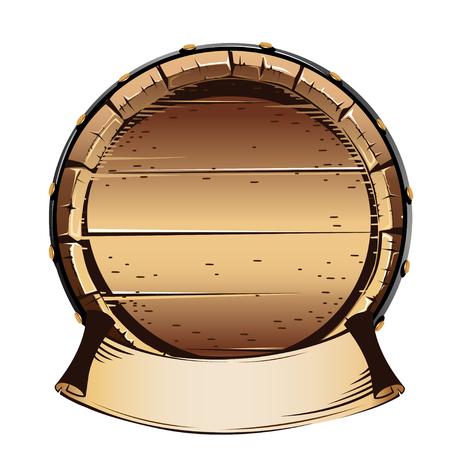 Old wooden barrel for alcohol. Vector illustration on white background.