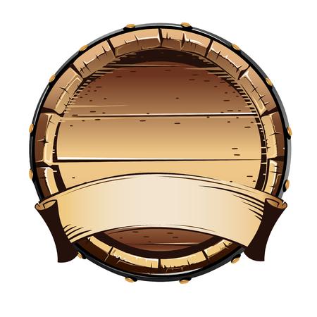 Old wooden barrel for alcohol. Vector illustration on white background.