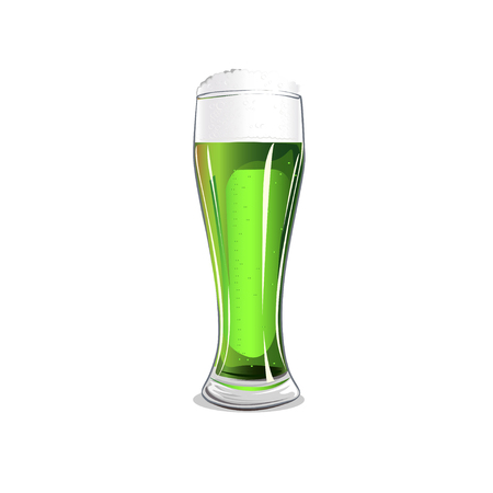 Glass with green beer isolated on white background