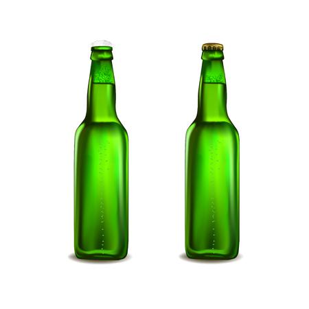 Green beer bottle isolated on white background. Vector illustration. Illustration