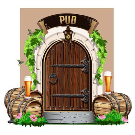 Old wooden door to the pub with wooden barrels and beer. Colorful vector illustration. Stock Illustratie