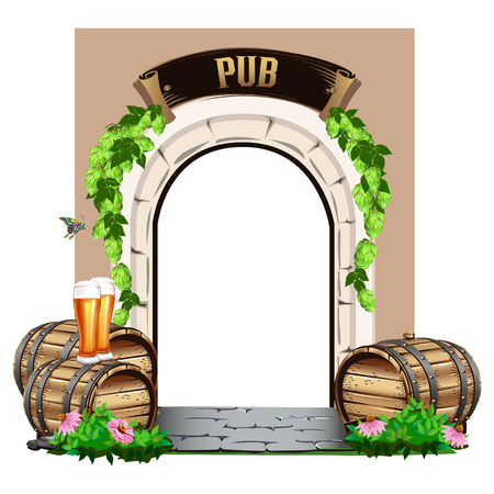 Old wooden door to the pub with wooden barrels and beer. Colorful vector illustration. Vettoriali