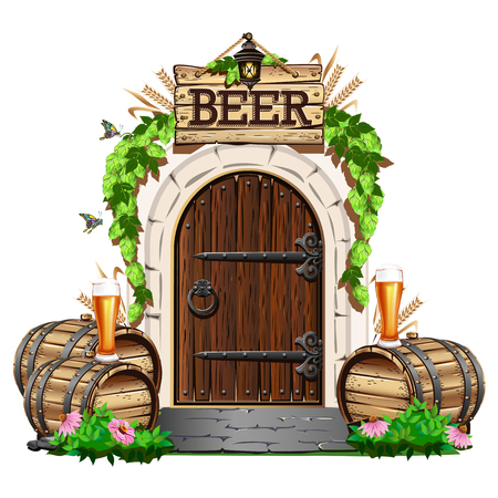 Old wooden door to the pub with wooden barrels and beer. Colorful vector illustration. Иллюстрация