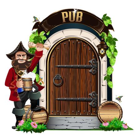 Vecchia porta di legno al pub con botti di legno e birra. Illustrazione vettoriale colorato. Vettoriali