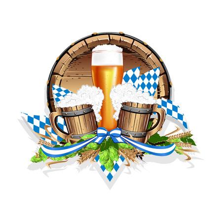 Illustrazione vettoriale per una festa della birra. Modello o carta di invito colorato. Vettoriali