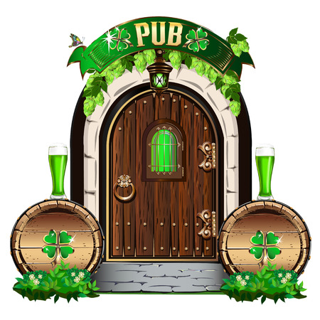 The door to the Irish pub. Vector illustration for Saint Patrick Day.