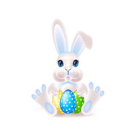 Cute easter bunny with an egg. Colorful vector illustration. Illustration