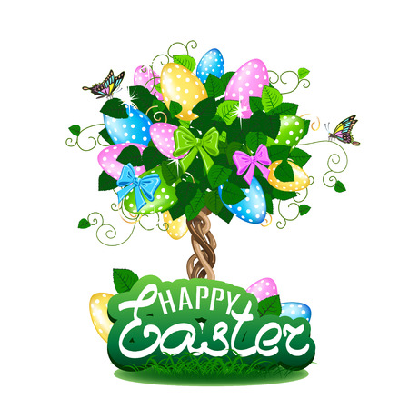 Easter tree with colorful eggs. Vector illustration on white background.