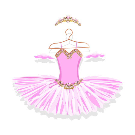 Beautiful ballet tutu on a hanger. Vector illustration on white background. 矢量图像