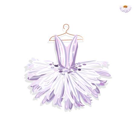 Beautiful ballet tutu on a hanger. Vector illustration on white background. Illustration