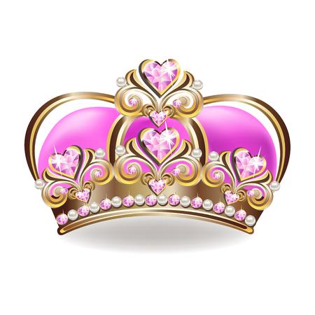 Krone einer Prinzessin mit Perlen und rosa Edelsteinen. Vektorillustration.