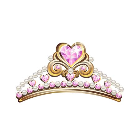 Couronne de princesse avec perles et pierres précieuses roses. Illustration vectorielle.