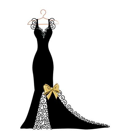 Silhouette of a dress with flowers and lace