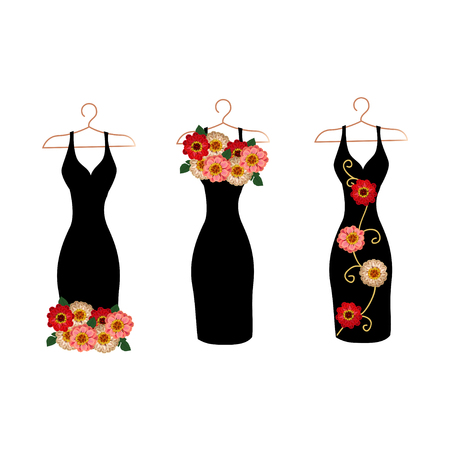 Dress silhouette on a hanger with flowers and lace. Set vector illustration. Stockfoto - 108812995