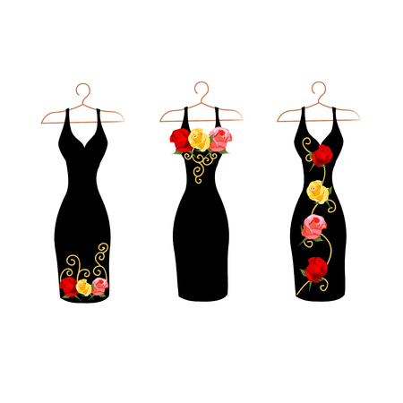 Dress silhouette on a hanger with flowers and lace. Set vector illustration. Stockfoto - 108812994