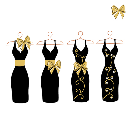 Dress silhouette on a hanger with flowers and lace. Set vector illustration. Stockfoto - 108812998