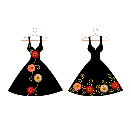 Dress silhouette on a hanger with flowers and lace. Vector illustration.