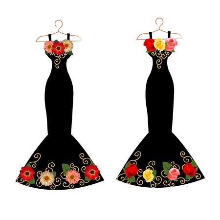 Set of dresses on hangers Stock Illustratie