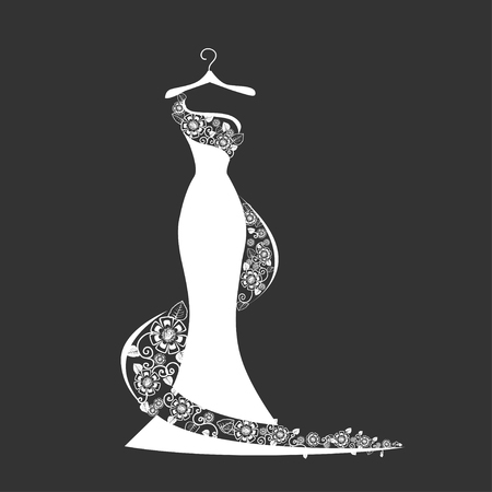 Lace wedding dress on a hanger. Beautiful vector illustration. Silhouette. Stockfoto - 108813022