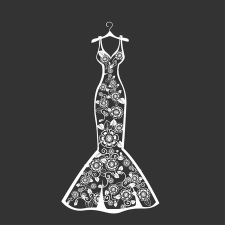 Lace wedding dress on a hanger. Beautiful vector illustration. Silhouette. Stockfoto - 108813024