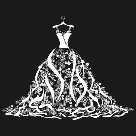 Lace wedding dress on a hanger. Beautiful vector illustration. Silhouette. Stock Illustratie