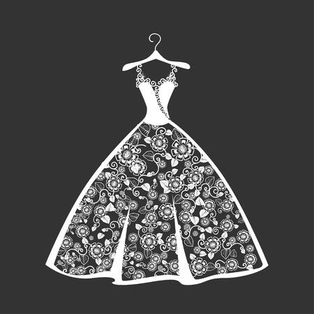 Vestido de novia de encaje en una percha. Hermosa ilustración vectorial. Silueta.