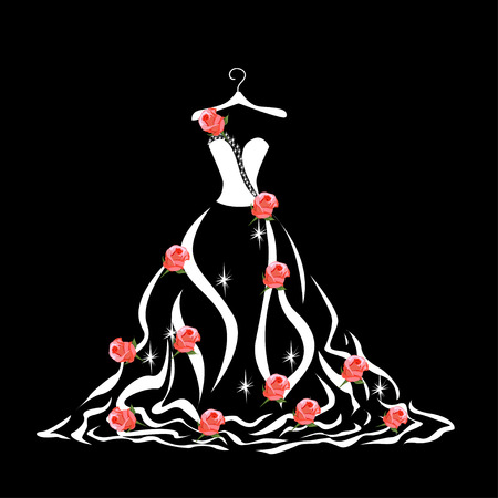 Lace wedding dress on a hanger. Beautiful vector illustration. Silhouette. Stockfoto - 108813027