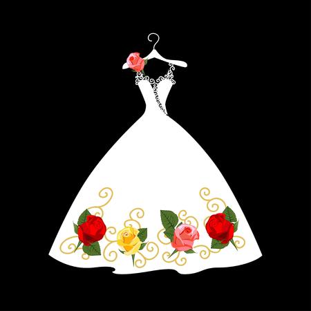 Robe de mariée en dentelle sur cintre. Belle illustration vectorielle. Silhouette. Vecteurs