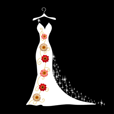 Lace wedding dress on a hanger. Beautiful vector illustration. Silhouette. Stockfoto - 108813035