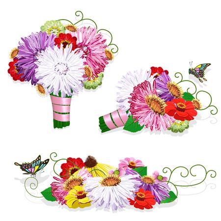 Beautiful wedding bouquet with ribbon. Vector template for an invitation card or postcard. Illusztráció