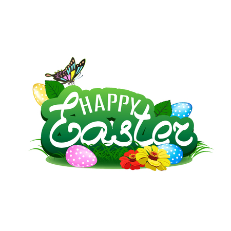 Happy easter colorful illustration