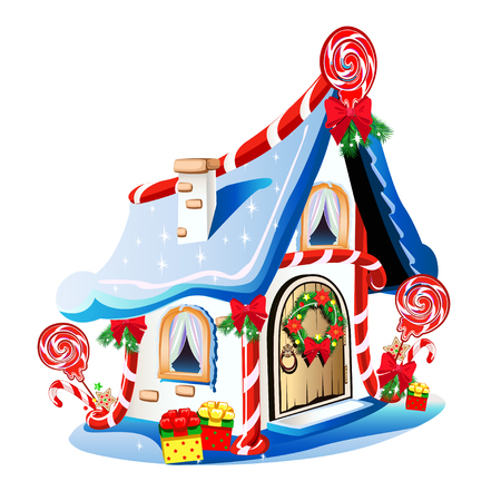 Christmas house with festive decorations and sweets