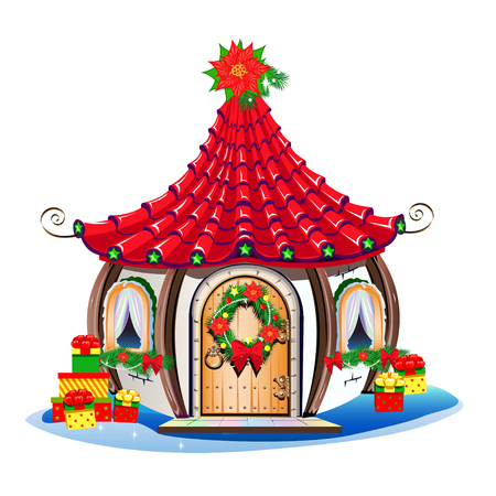 Christmas house with festive decorations and sweets Stockfoto - 112820926