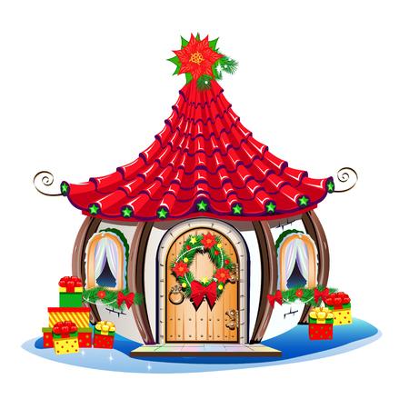 Maison de Noël avec décorations festives et bonbons