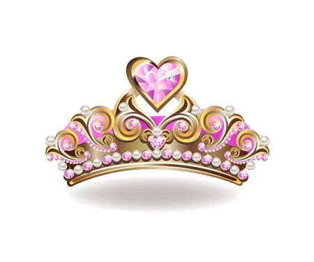 Beautiful golden princess crown with pearls and pink jewels.
