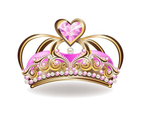 Beautiful golden princess crown with pearls and pink jewels. Stockfoto - 126865533