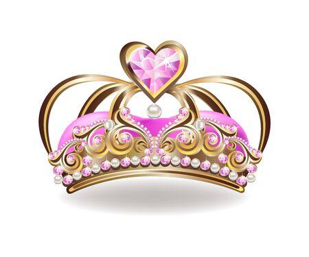 Belle couronne de princesse dorée avec perles et bijoux roses. Vecteurs