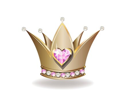 Beautiful golden princess crown with pearls and pink jewels. Stockfoto - 126865534